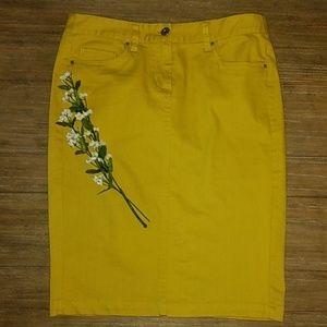 Willi Smith Mustard Denim Jean Modest Skirt 2